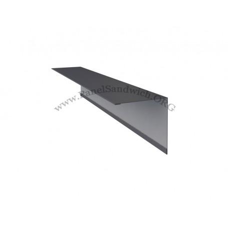 Remate en forma L 5x7 para panel sandwich imitacion teja color gris pizarra