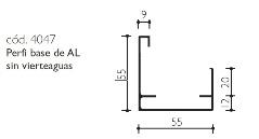 cod.4047 Perfil base de AL sin vierteaguas