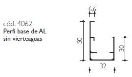 cod.4062 Perfil base de AL sin vierteaguas