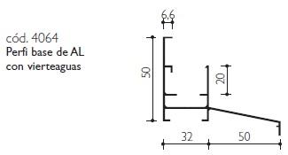 cod.4064 Perfil base de AL con vierteaguas