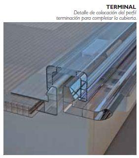 Detalle de colocación del perfil terminación para completar la cubierta