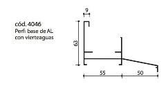 cod.4046 Perfil base de AL con vierteaguas