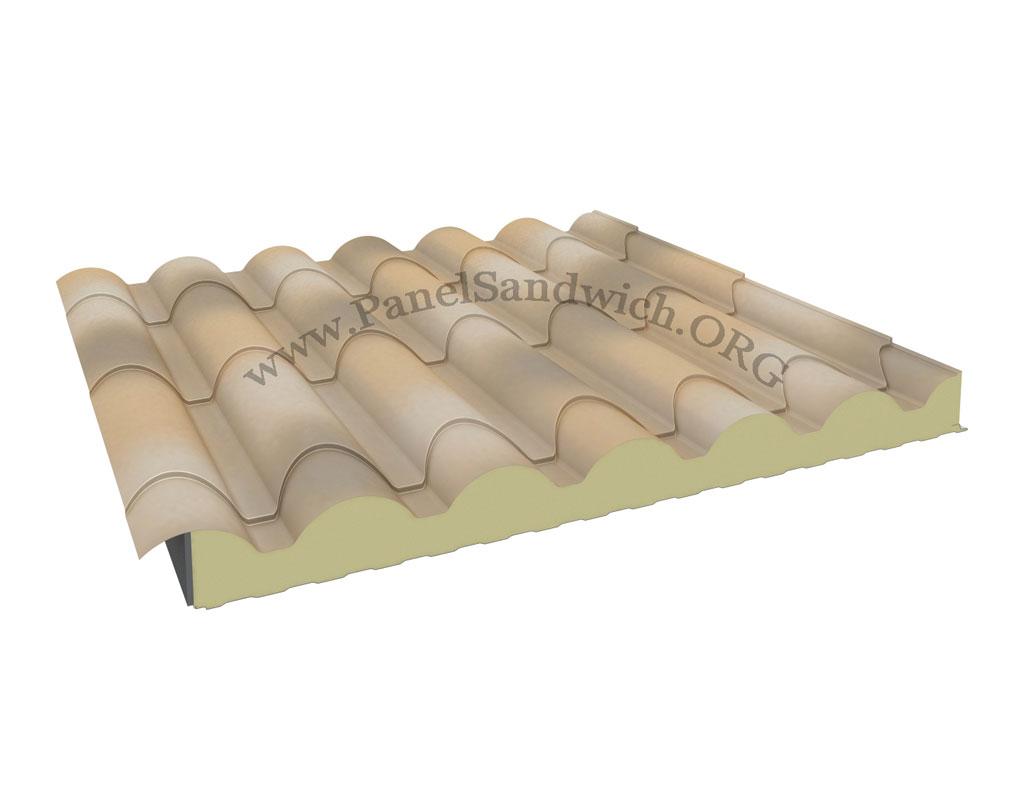 Panel Sandwich imitando a la teja arabe tradicional de color albero envejecido