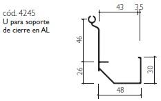 cod.4245 U para soporte de cierre en AL