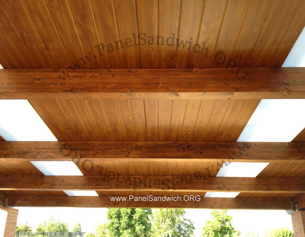 Panel s ndwich teja acabado madera for Tejados de madera con teja