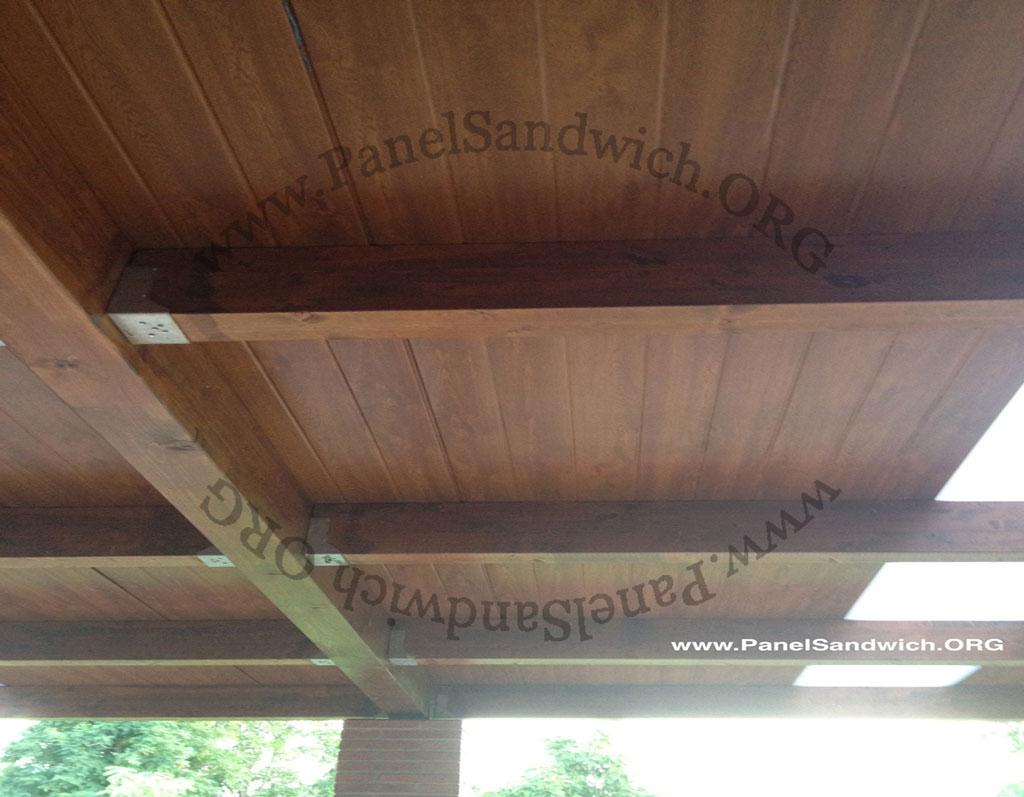 Panel s ndwich teja acabado madera for Chapa sandwich imitacion teja
